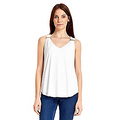 Wallis - Ivory trim vest top