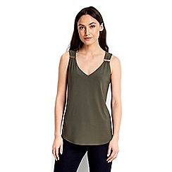 Wallis - Khaki metal trim vest top