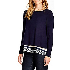 Wallis - Navy stripe back top