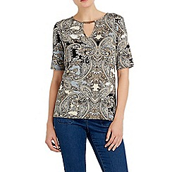 Wallis - Neutral paisley printed shell