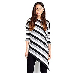 Wallis - Striped asymmetric knitted top