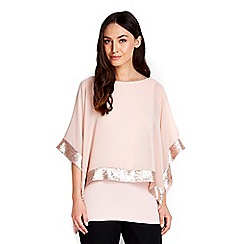 Wallis - Blush sequin overlay top