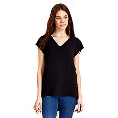 Wallis - Black woven neck tie top