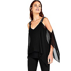 Wallis - Black embellished strap top