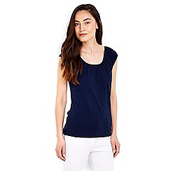 Wallis - Navy cotton bardot top