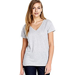 Wallis - Grey v-neck cuff t-shirt