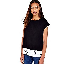 Wallis - Black butterfly zip back layered top