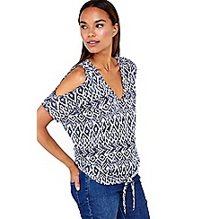 Wallis - Navy tribal print cold shoulder top