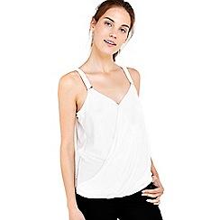 Wallis - Ivory trim wrap camisole