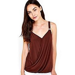 Wallis - Chocolate trim wrap camisole