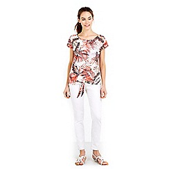 Wallis - Palm print tie front top