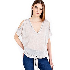 Wallis - Stone embellished tie front top