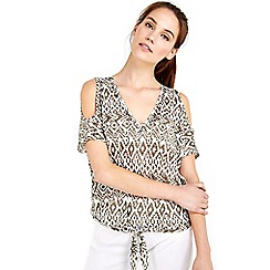 Wallis - Tribal print stud tie front top