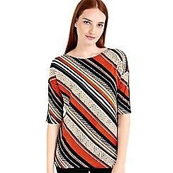 Wallis - Rust stripe printed top