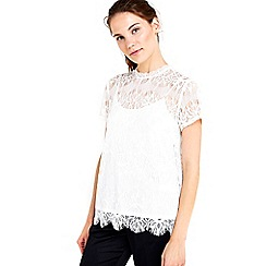 Wallis - Ivory scallop lace shell top