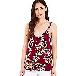 Wallis - Palm print wrap camisole top