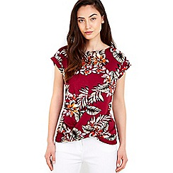Wallis - Palm print twist front top