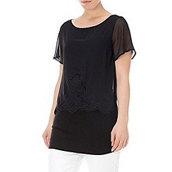 Wallis - Black embroidered overlay top