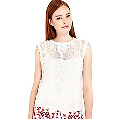 Wallis - Ivory embroidered mesh cami