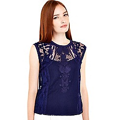 Wallis - Navy embroidered mesh camisole top