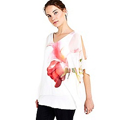 Wallis - Ivory floral woven overlay top