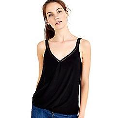 Wallis - Black trim wrap camisole top