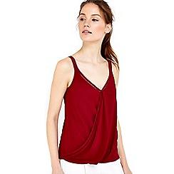 Wallis - Berry trim wrap camisole top