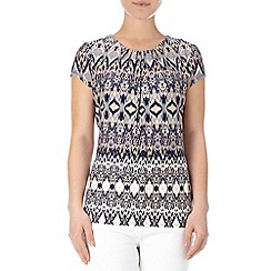 Wallis - Ethnic print border shell top