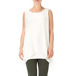 Wallis - Cream embellished hanky hem top