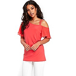 Wallis - Coral embellished strap top