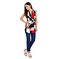 Wallis - Red block geo print sleeveless shirt