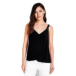 Wallis - Black eyelet wrap camisole top