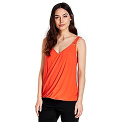 Wallis - Orange eyelet wrap camisole top