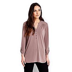 Wallis - Taupe collarless shirt