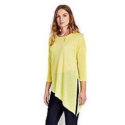 Wallis - Lime asymmetric knitted top