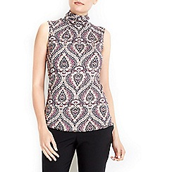Wallis - Paisley print sleeveless polo neck