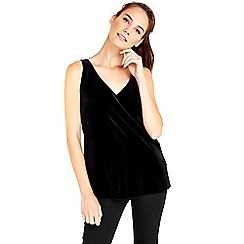 Wallis - Black velvet camisole top
