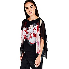 Wallis - Black pink floral overlay top