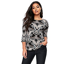 Wallis - Neutral placed paisley top