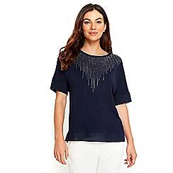 Wallis - Navy blue sparkle neck top