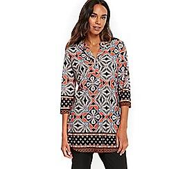 Wallis - Orange mosaic print shirt