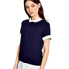 Wallis - Navy short sleeve 2in1 top