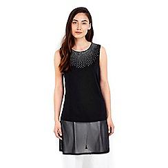 Wallis - Black embellished split back vest top
