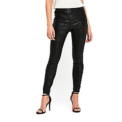 Wallis - Black snake texture side zip trousers