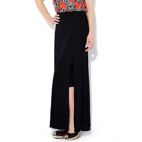 Wallis - Black side split maxi skirt