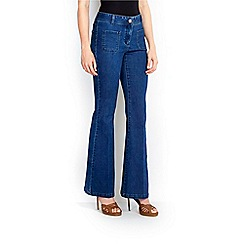Wallis - Blue patch pocket flare jean