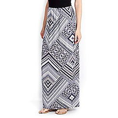 Wallis - Navy printed maxi skirt