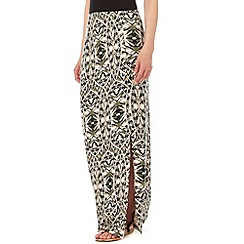Wallis - Khaki printed maxi skirt