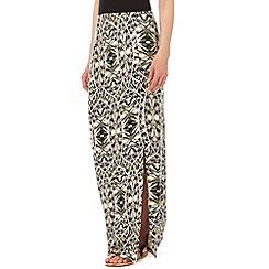 Wallis - Khaki printed maxi skirt