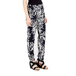 Wallis - Navy palm print trouser